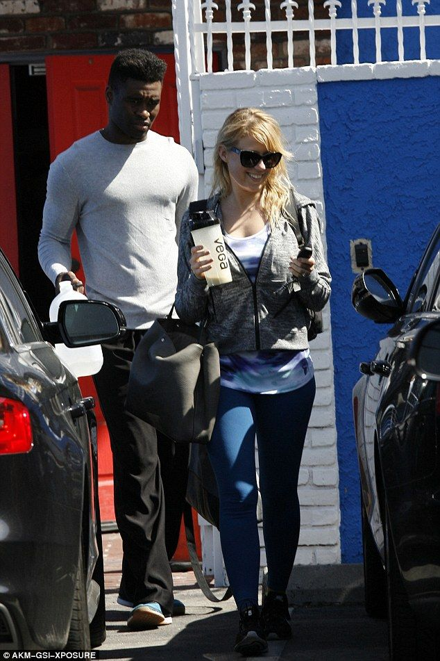 Jodie Sweetin finishes practice with Keo Motsepe for DWTS