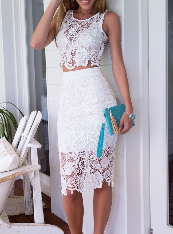 2aaddb5a011 28 Gorgeous Bachelorette Outfits With A Wow Factor White Lace Crop Top