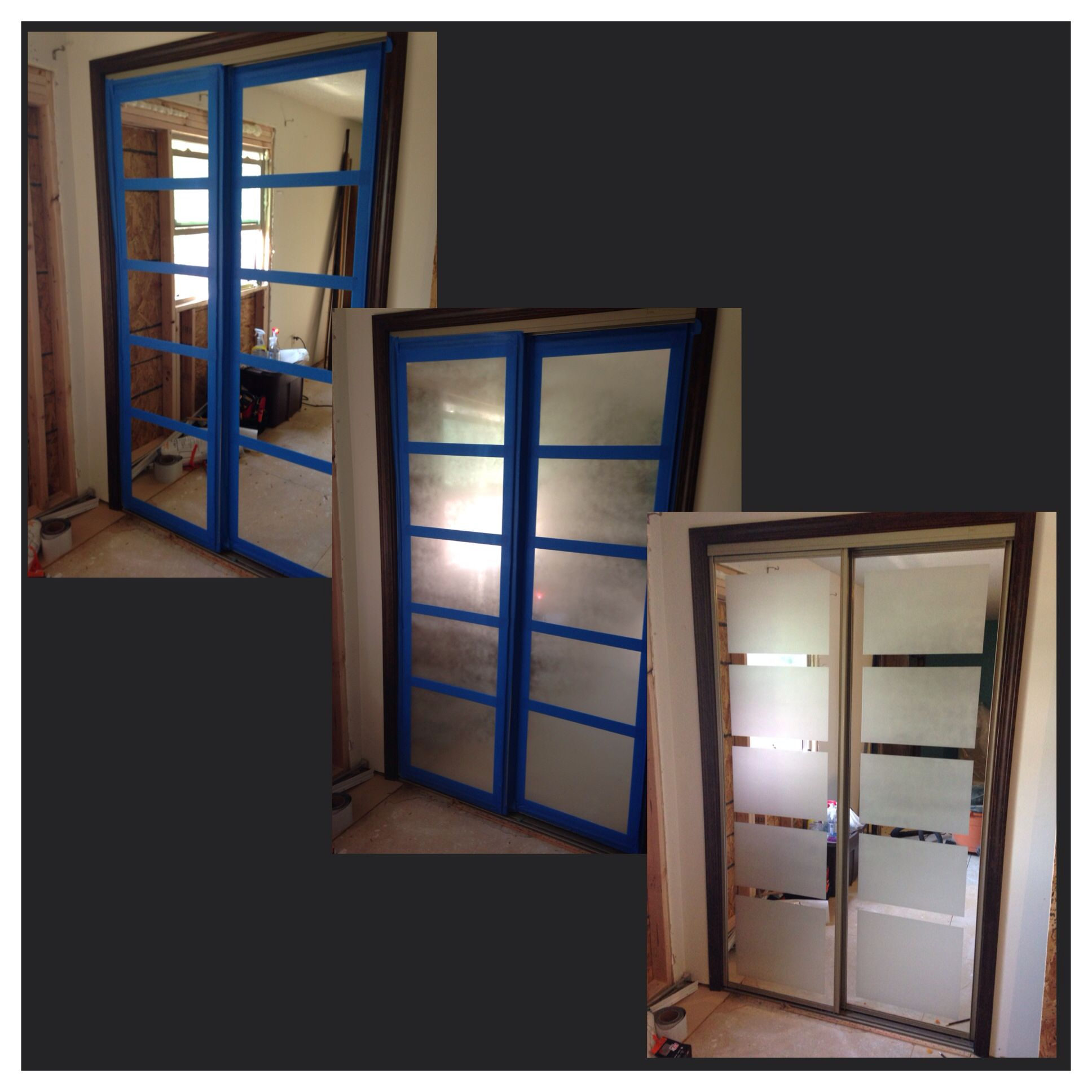 Frosted Mirrored Closet Doors With Rust Oleum Frosted Glass Spray