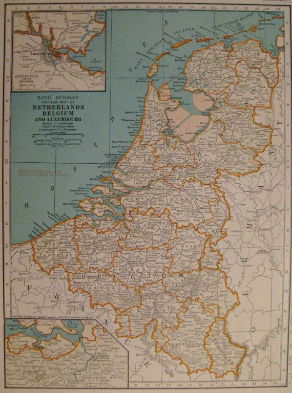 1935 netherlands map of the netherlands belgium by plaindealing