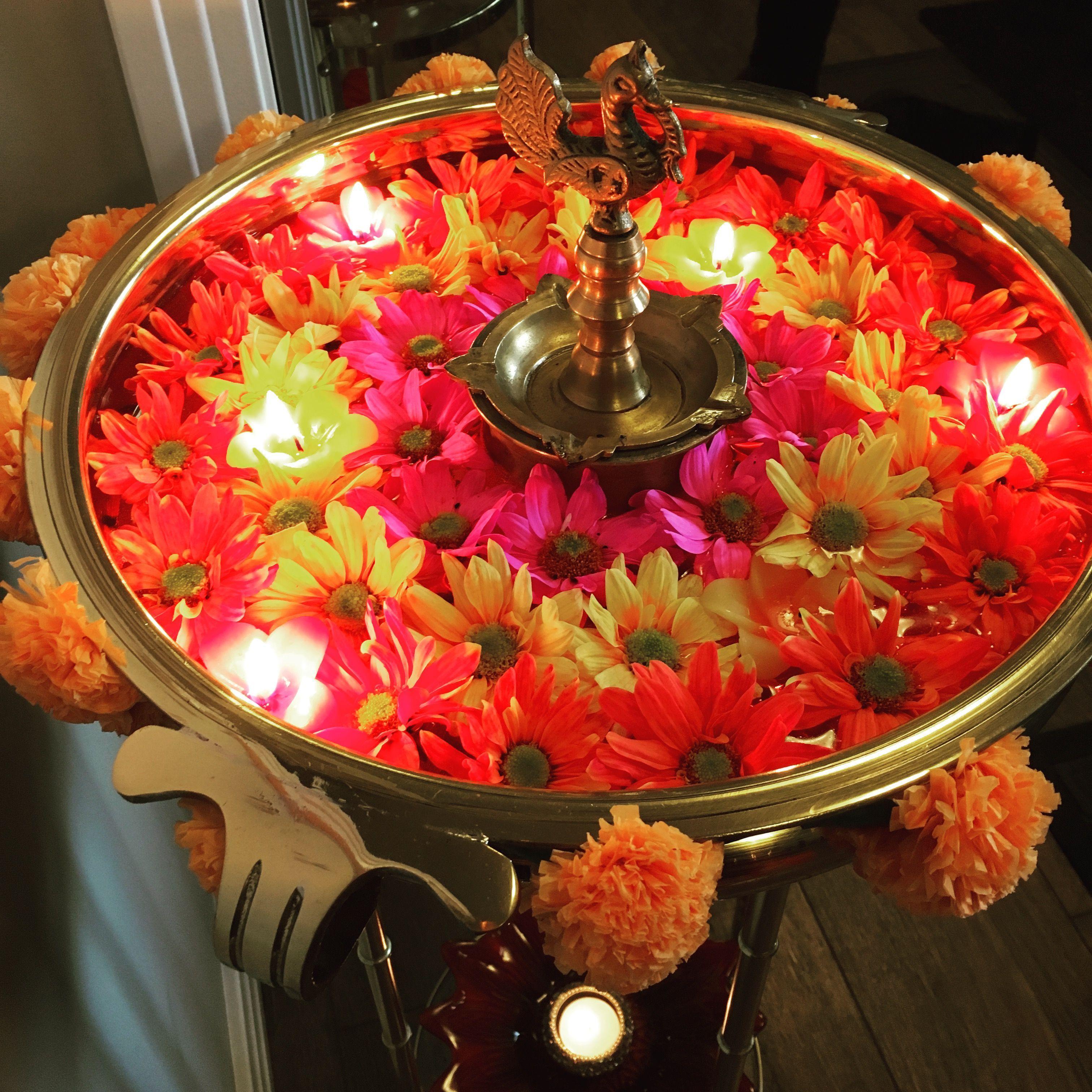Diwali decor Urli flowers in 2020 Diwali decorations