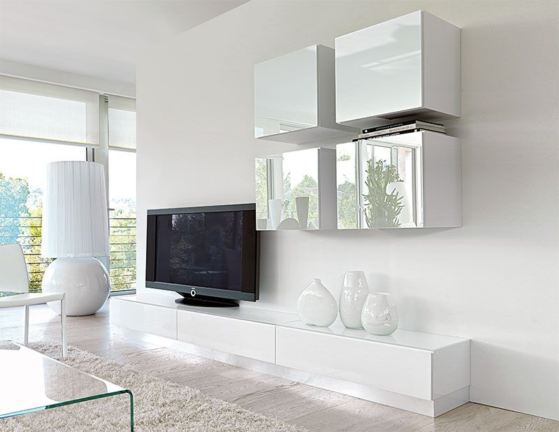 contemporary high gloss unico wall storage system in white