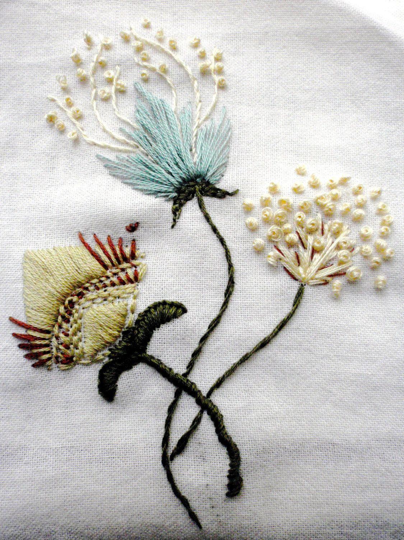 Flower embroidery- etsy | PONTOS DE BODADO | Pinterest | Bordado ...