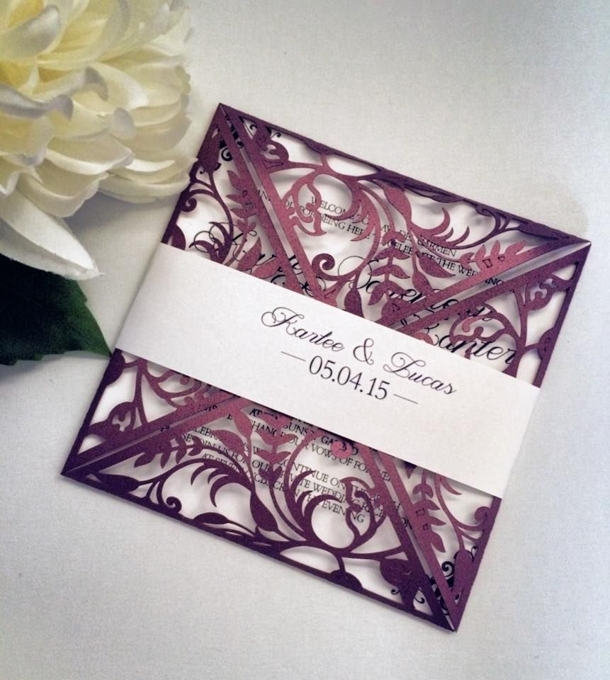 Formal Purple Die Cut Wedding Invitation Pocket Design | Elegant Laser Cut Detail | Shimmer Purple Wedding Stationery