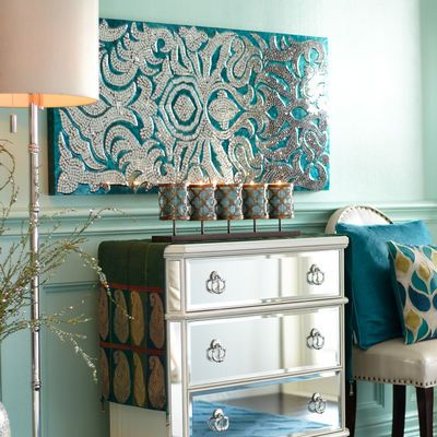 Mirrored Damask Panel Teal 22x48 Asian Home Decor