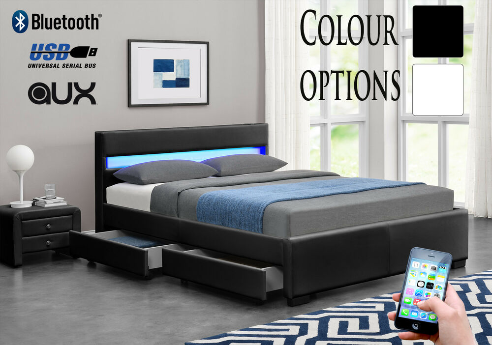Details about BLUETOOTH Music Bed Frame Storage LED Faux