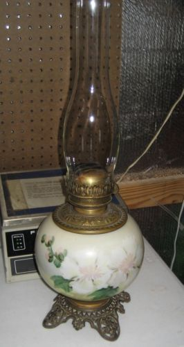 Antique Victorian 1800s Double Wick Kerosene Oil Lamp Glass Brass Hand Painted Kerosene Oil Lamps Kerosene Lamp