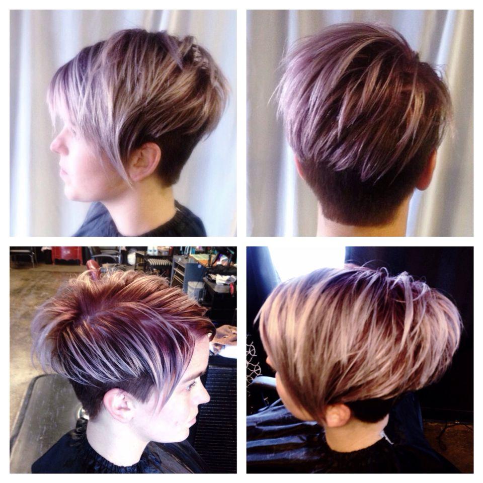 Texturized Metallic Pixie Haircut With Undercut Long Bangs Kurz Geschnittene Frisuren Haarschnitt Ideen Pixie Schnitt