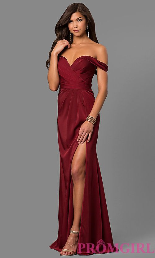 e80e09d996 Image of long formal off-the-shoulder v-neck dress with slit. Style  FA-8083  Front Image