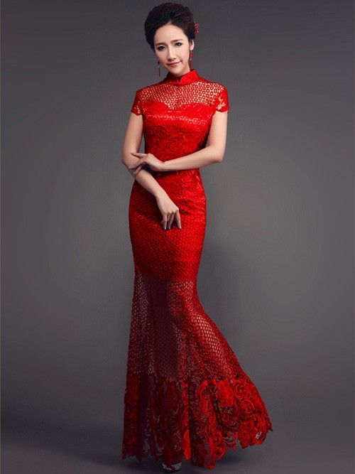 red fishtail cheongsam qipao wedding dress with sheer
