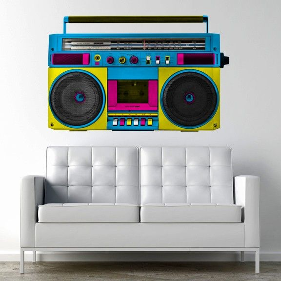 Retro Boombox Adhesive Wall Decal Wallsneedlove Boombox Art Boombox Drawing Retro