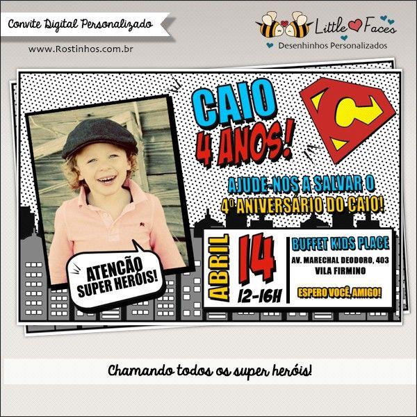 Convite Festa Super Heróis Com Foto Digital