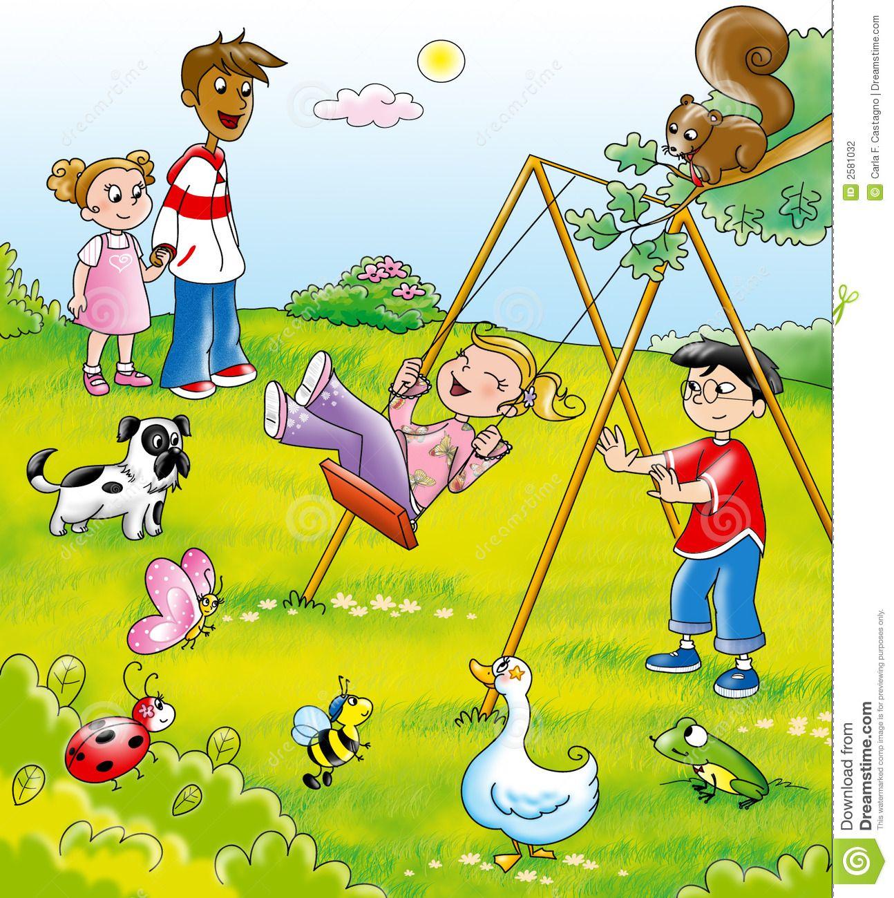 kids in a park cartoon | Mural Inspiration | Pinterest ...
