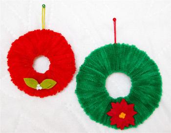 Bella Dia chenille stems wreath ornament kids can make