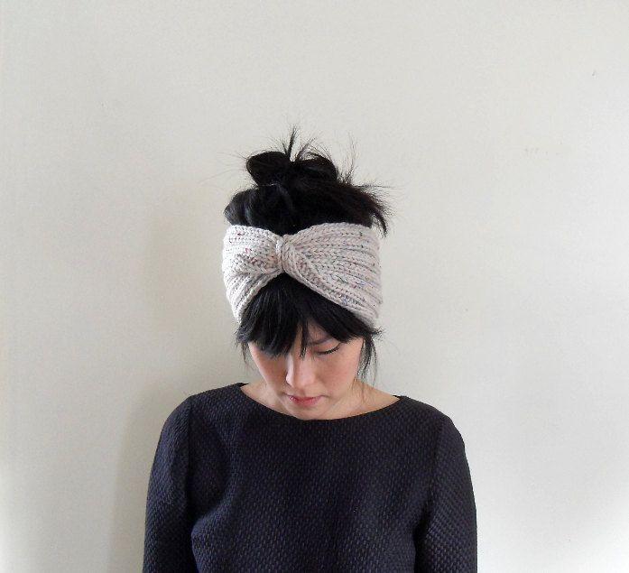Diadema de punto grueso en avena Tweed Lana Merino por IRISMINT, $32 ...