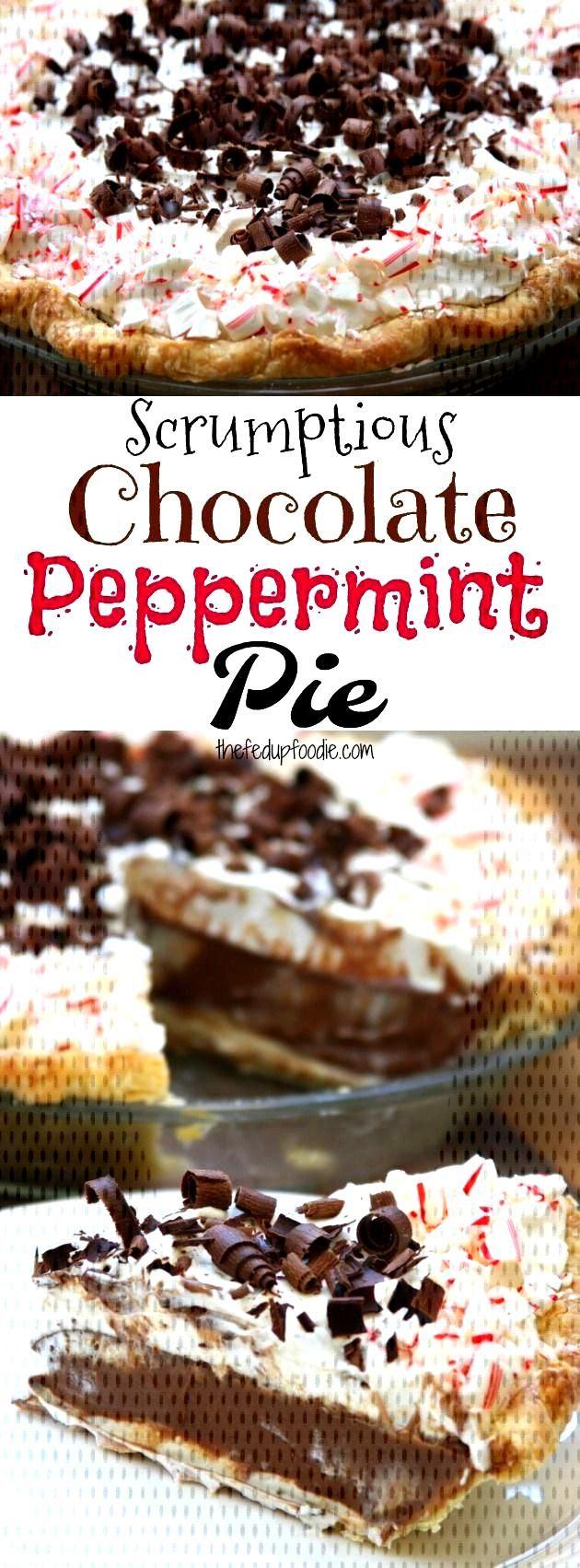Scrumptious Chocolate Peppermint Pie  - pies -