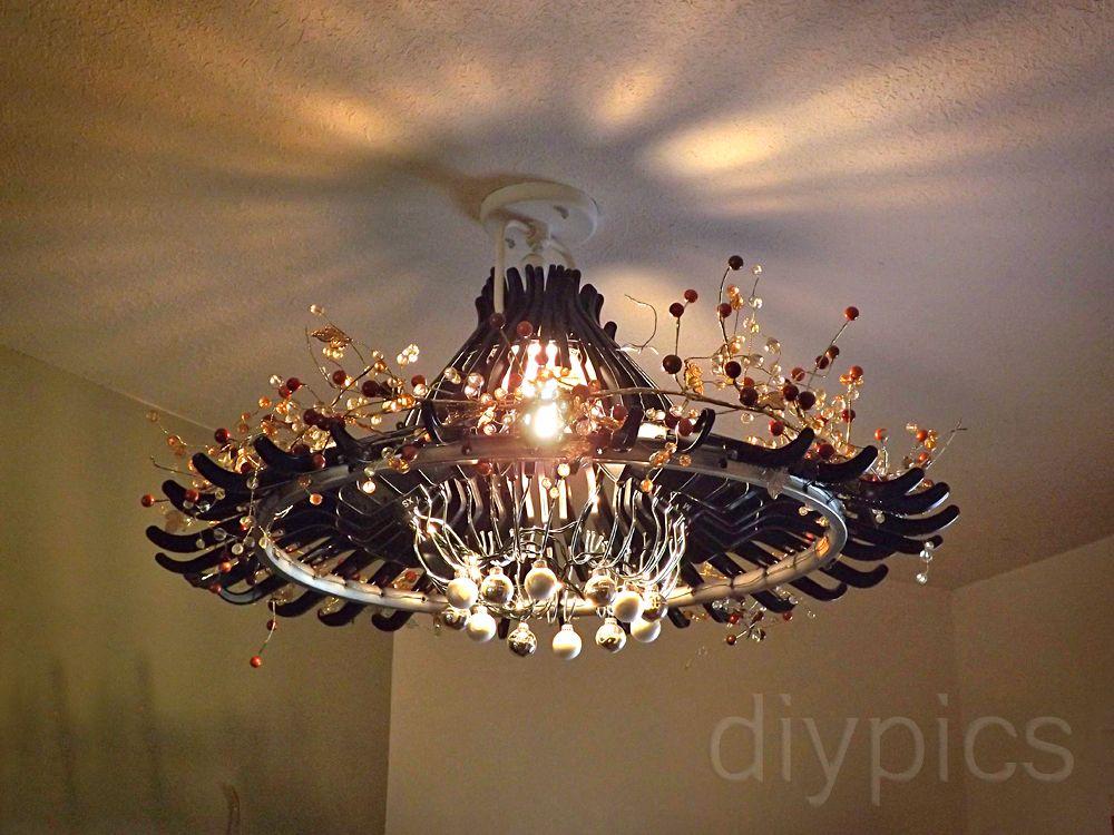 Diy hanger chandelier up cycle it pinterest black chandelier upcycle and awesome - Wire chandelier diy ...