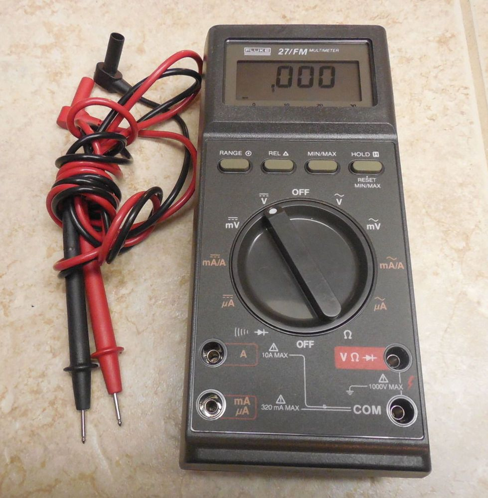 FLUKE 27FM MULTIMETER & TEST LEADS