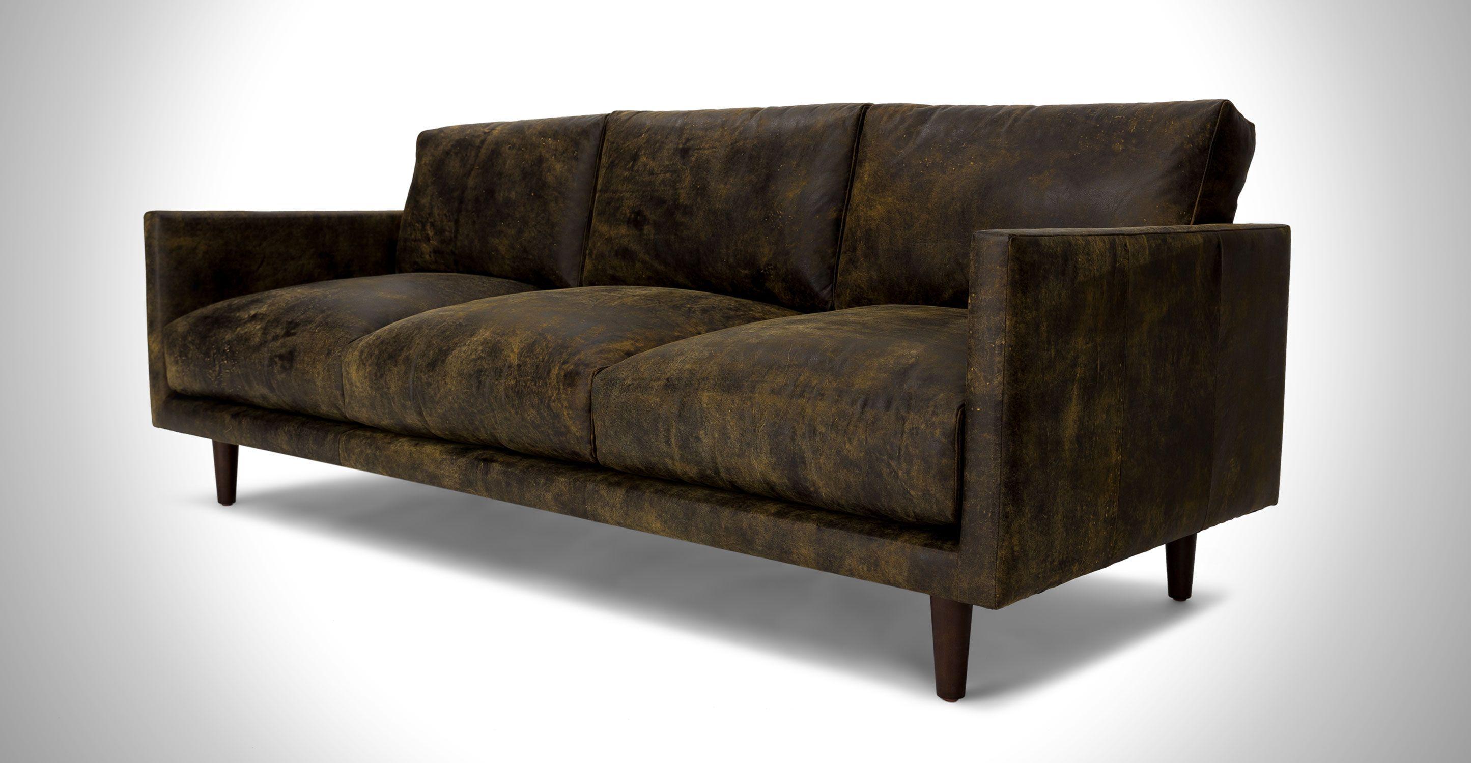Delightful Dark Brown Leather Sofa   Upholstered   Article Nirvana Modern Furniture