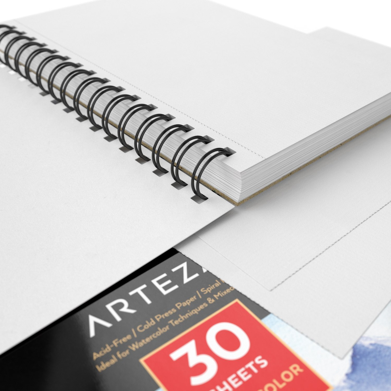 "ARTEZA 5.5/""X8.5/"" Watercolor Pad 140lb//300gsm 90 Sheets 3 Pack Spiral..."