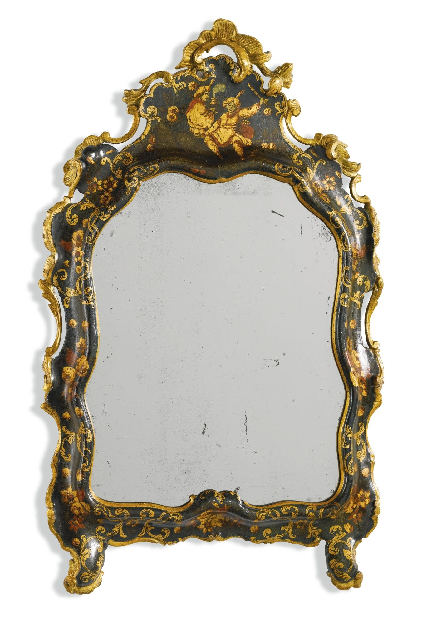 An Italian dark green lacquer and giltwood mirror Venetian, circa ...