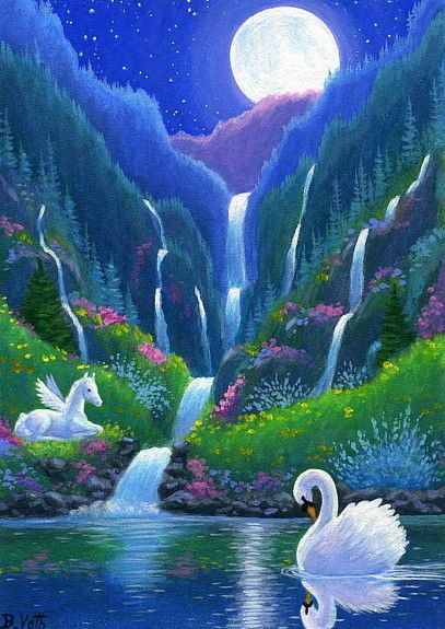 Swan pegasus foal horse waterfall moon fantasy limited edition aceo print art