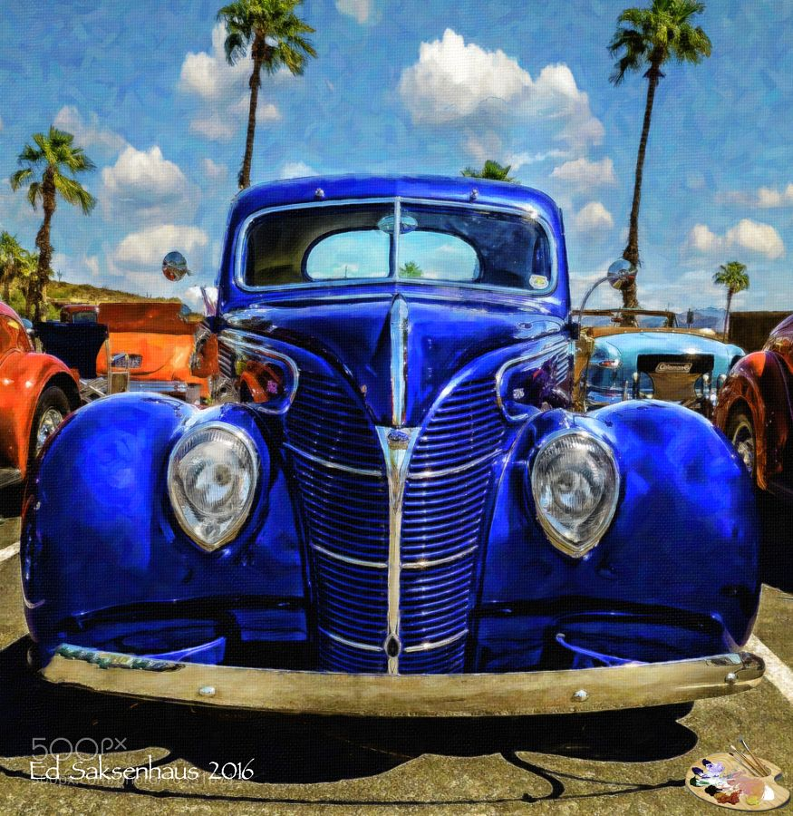 Blue Vintage Ford At The Fountain Hills Show By Esaksenhaus - Fountain hills car show