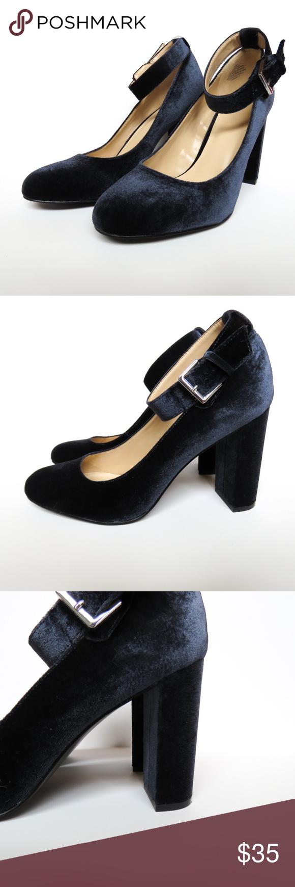a4f25007f3b8 Nine West Louizao Ankle Strap Velvet Heels Nine West Louizao Heels Ankle  Strap - Round Toe Navy Blue Velvet Size 9.5 M Heel Height  4