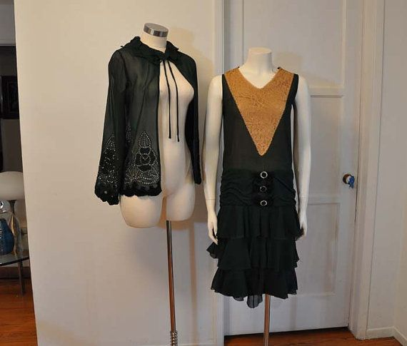 20s dress / Amazing Vintage Forest Green by Planetclairevintage