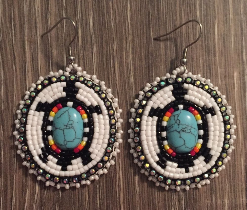 Navajo Native American Beaded Oval Turquoise Turtle Dangle Earrings Ebay
