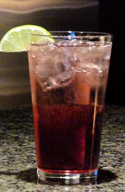 raspberry sour puss, cranberry juice, sprite, squeezed lime to taste