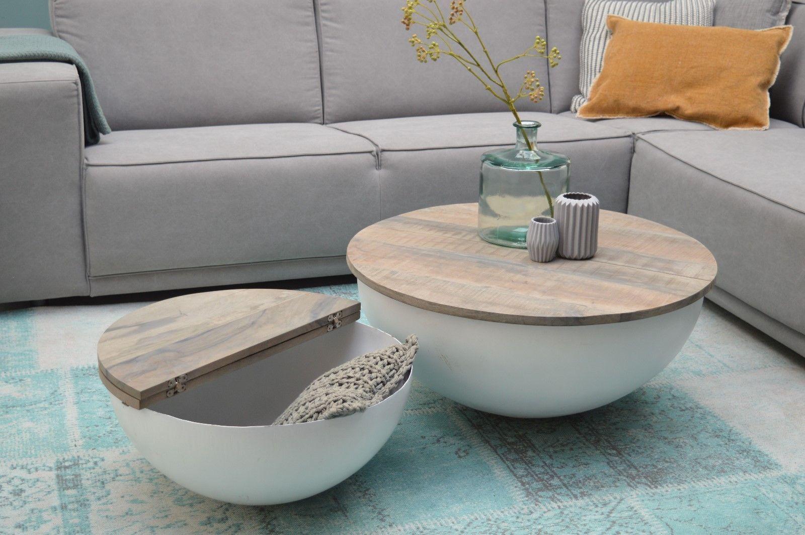 Design Couchtisch Mango Holz Sophie Metall Rund Beistelltisch