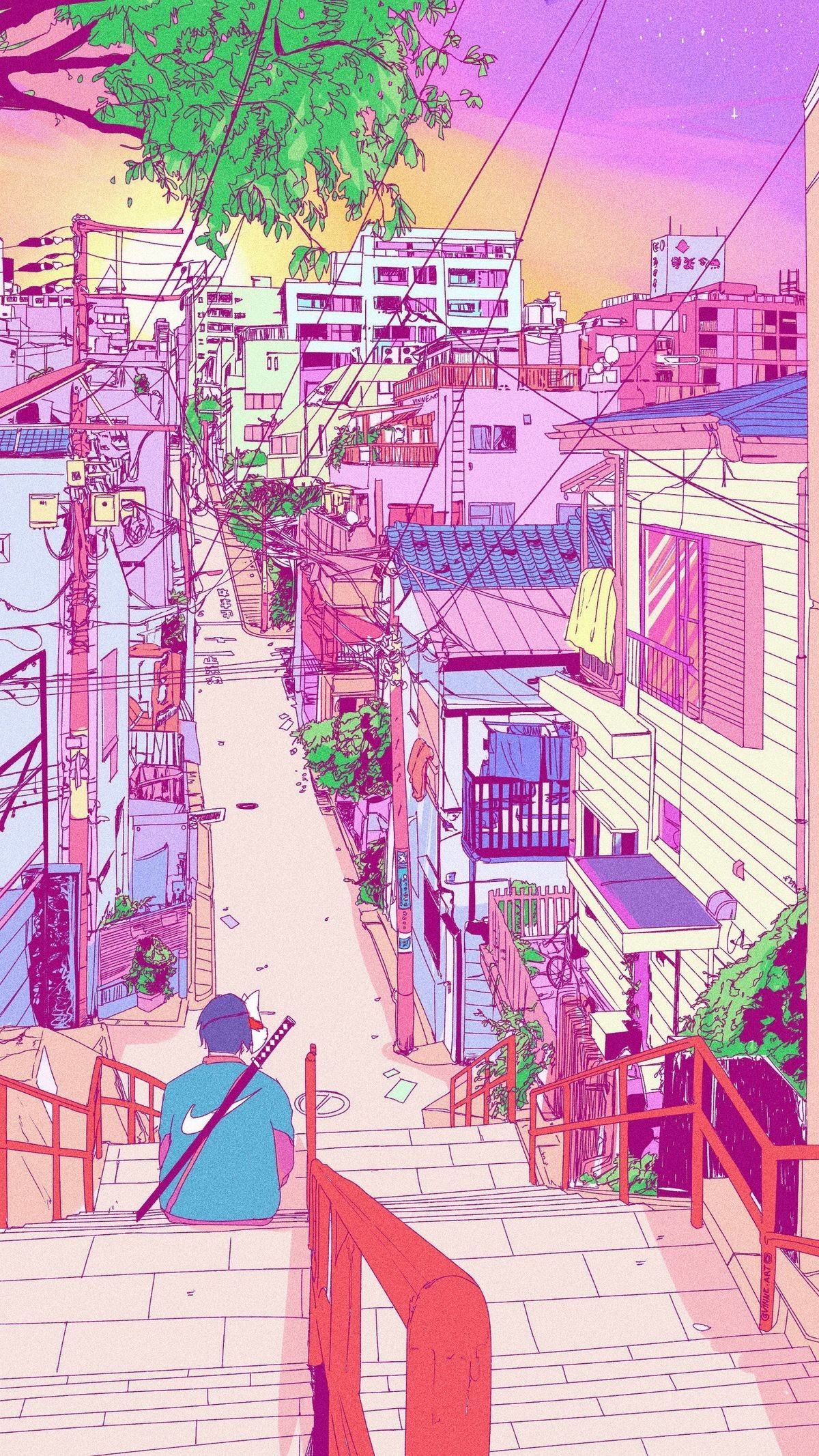 Pin By Danielle Lo On Illus Anime Scenery Wallpaper Scenery Wallpaper Aesthetic Wallpapers