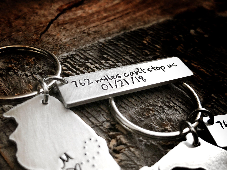 Long Distance Keychain Anniversary Gift for Boyfriend