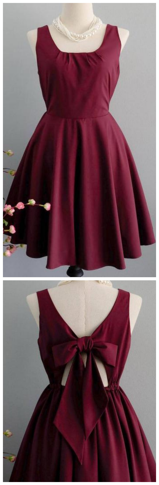 Burgundy Sleeveless Backless Homecoming Dresses,A Line Cocktail Dresses