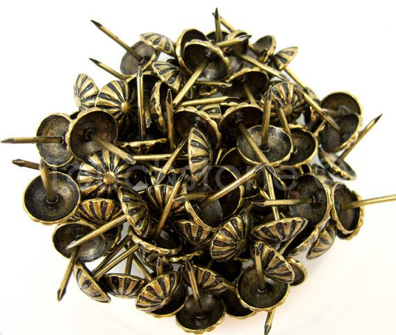 100 Pack Antique Brass Daisy Nail Tacks 5/8 by springfieldleather, $6.99