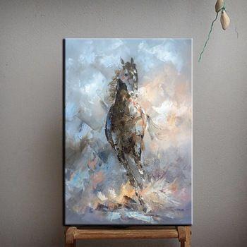 Couteau peinture à l'huile cheval sur toile