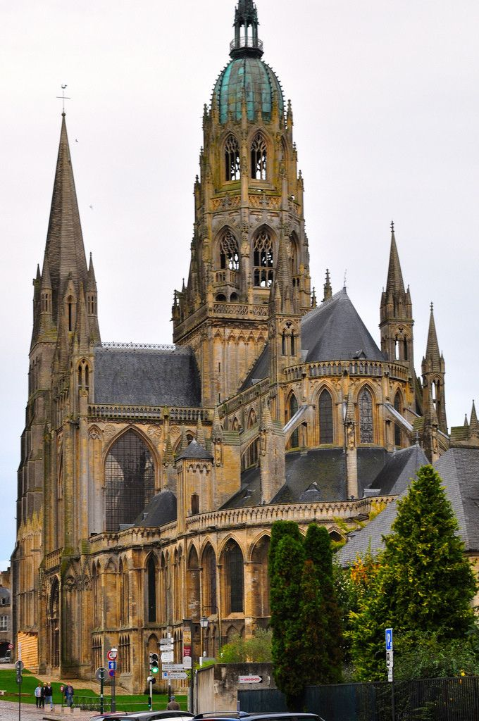 Cathedral. Bayeux, France, a beautiful place to visit then combine that with seeing the tapestry that original was in the naeve of the church. Wow what history! We crossed a many a path of where William the Conqueror had been.