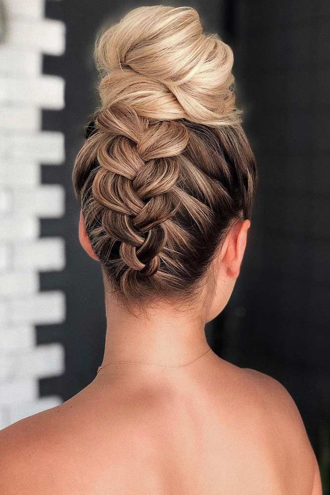 Braid Into High Bun #updo #mediumhair #hairstyles ️ Check out these popular updo hairstyles ...
