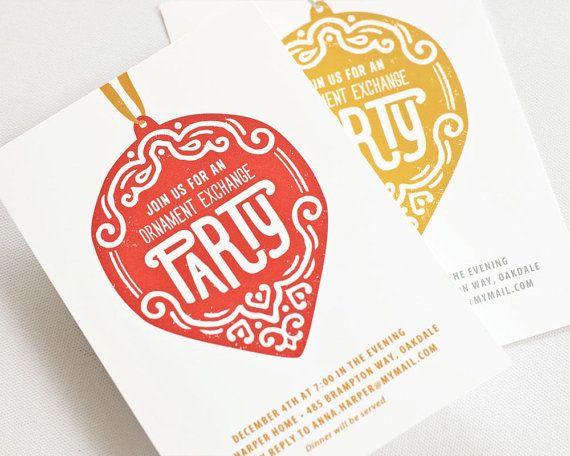 Ornament Exchange Invitation, Christmas Party Invite   ORNAMENTAL
