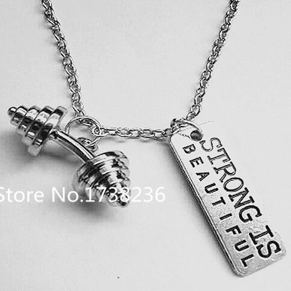 dumbbell men weightlifting original fitness style jewelry steel pendant p stainless necklace