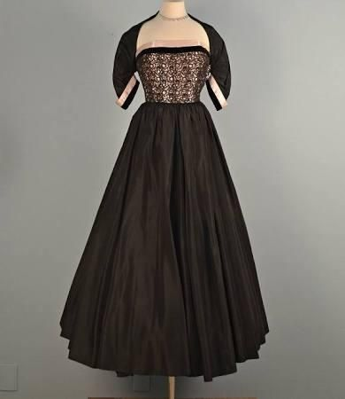Vintage 1950s Prom Dress...JUNIOR COUTURE Black Taffeta Evening Gown ...