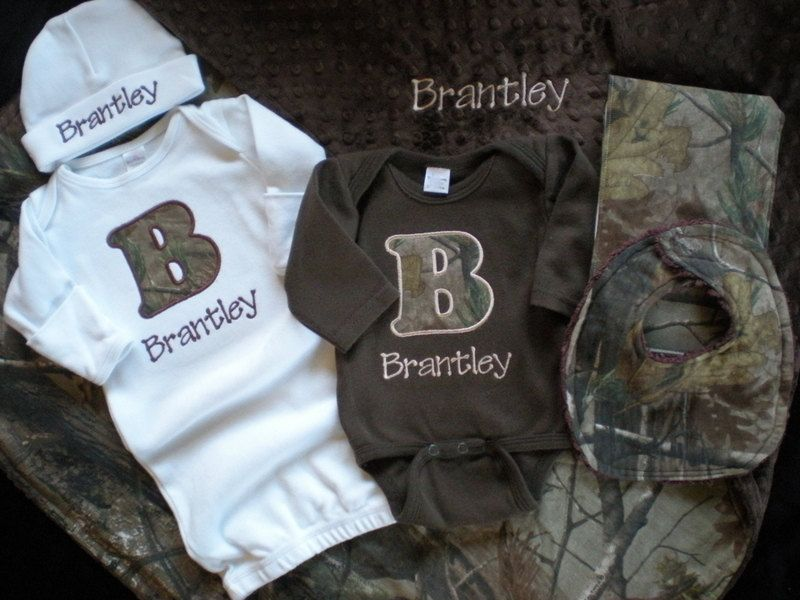 Baby boy gift set personalized layette gown onesie burp cloth baby boy gift set personalized layette gown onesie burp cloth bib hat and blanket real tree camo negle Image collections