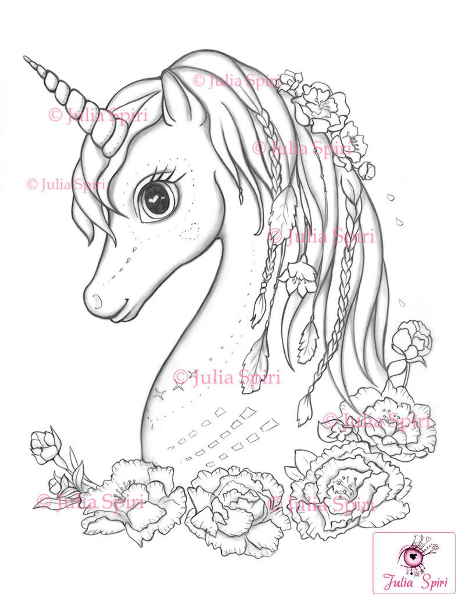 Coloring Pages Digital Stamp Digi Unicorn Boho Flowers Etsy In 2020 Unicorn Coloring Pages Digital Stamps Coloring Pages