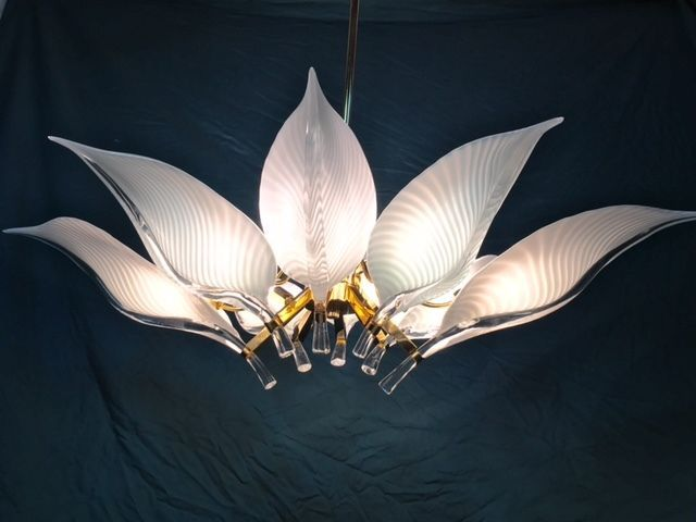 Chandelier Flowers and Leaves Murano Glass
