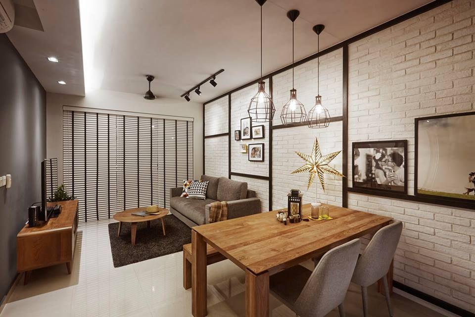 Arc @ Tampines, Industrial Condominium Interior Design, Living U0026 Dining Room