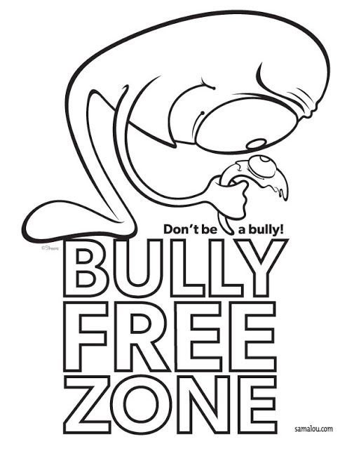 Bully Free Zone poster with cartoon