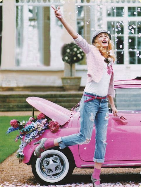 Pink car, pink clothes, pink flowers -- where do I sign up??