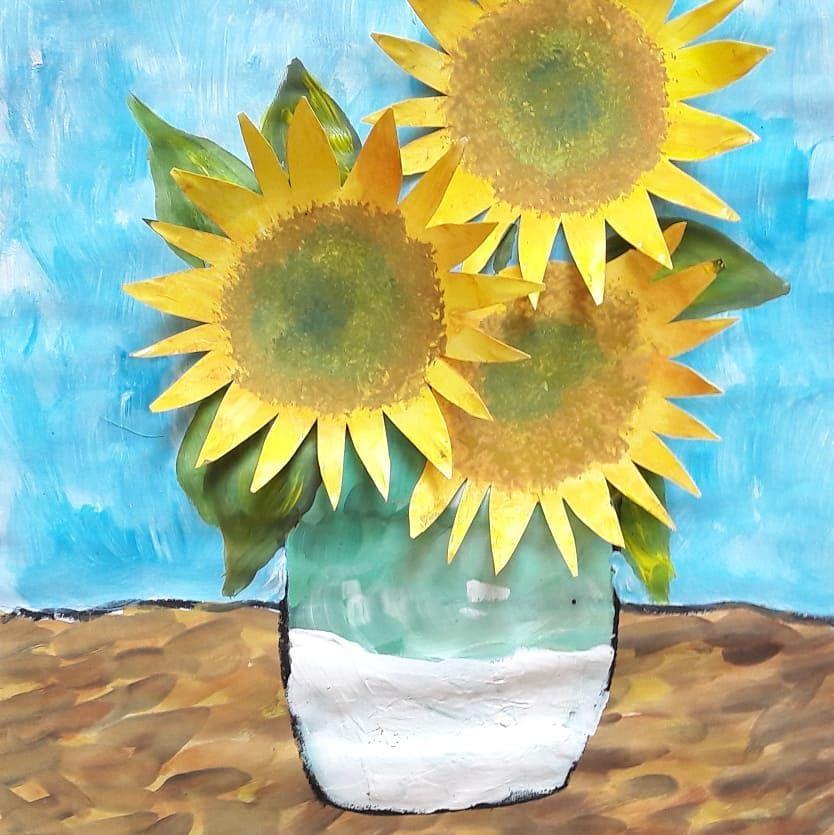 werbung wegen markennennung drei sonnenblumen in einer vase nach vincent van gogh schritt 6. Black Bedroom Furniture Sets. Home Design Ideas