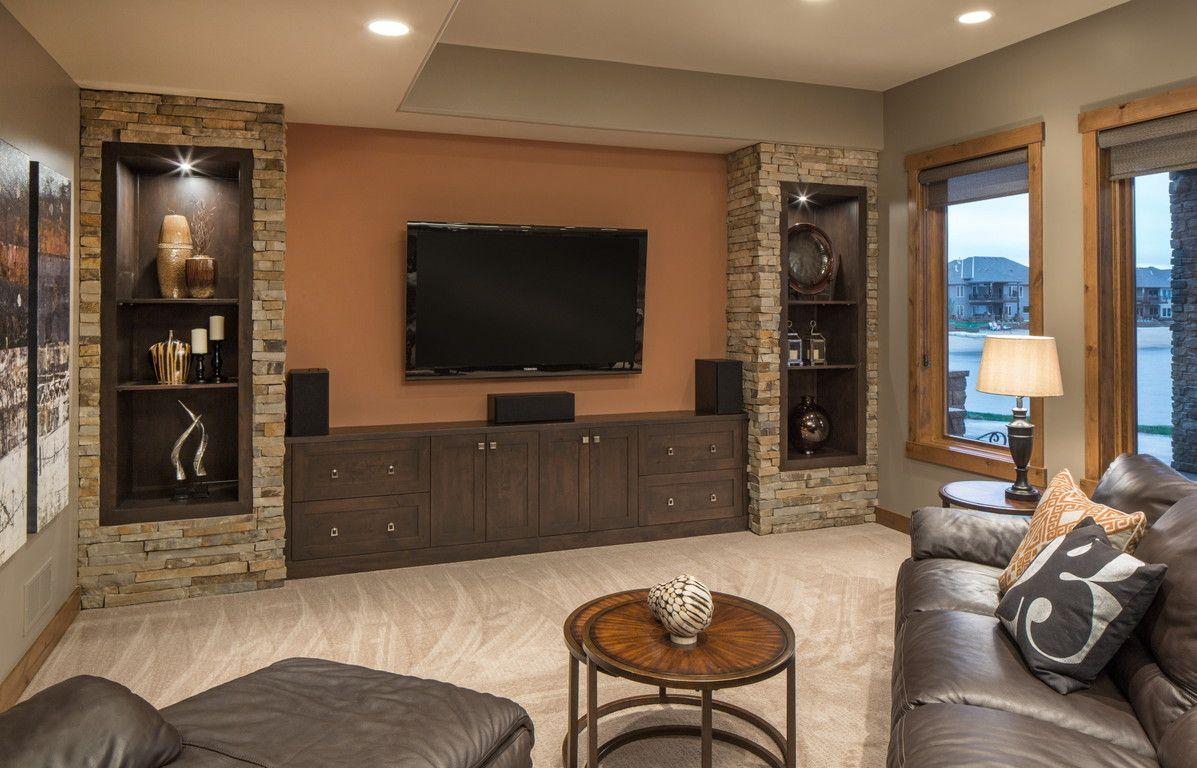 Rustic Chic Lake House Basement Media Area S P A C E S - Rustic basement ideas
